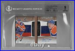 15-16 2015-16 ULTIMATE COLLECTION CONNOR McDAVID RELIC BOOKLETS PATCH AUTO BGS9
