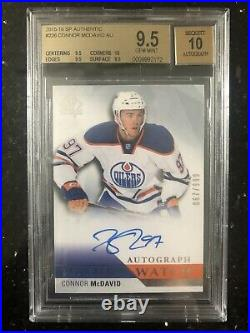 15/16 Connor McDavid SP Authentic FWA /999 BGS 9.5 True gem With 10 Sub