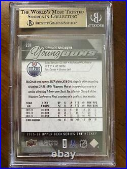 15-16 UD Series 1 Hockey Young Guns 201 Connor McDavid BGS 9.5 True Subs