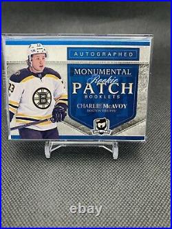 17-18 UD Charlie McAvoy The Cup Monumental Rookie Patch Booklet on card Auto /6
