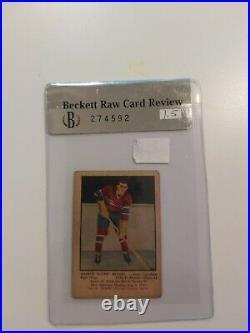1951-52 Parkhurst BECKETT RAW GRADE 1.5 MAURICE RICHARD #4 ROOKIE CARD