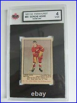 1951-52 Parkhurst GORDIE HOWE #66 rookie card KSA graded 4 VGE