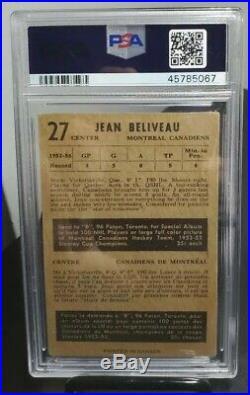 1953/54 Parkhurst Parkie Jean Beliveau RC Rookie Card PSA 3 VG Beauty