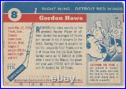 1954-55 Topps vintage hockey card #8 Gordie Howe, Detroit Red Wings VGEX+ ROOKIE
