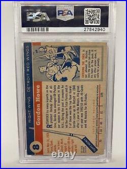 1954 Topps Hockey #8 Gordie Howe Red Wings Card Graded PSA 2 Looks like a 5