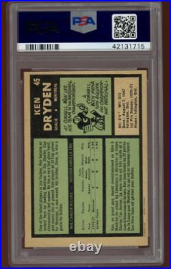1971 OPC Hockey #45 Ken Dryden Rookie Card RC Graded PSA 6 O-Pee-Chee CENTERED