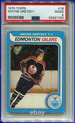 1979'79 Topps Hockey #18 Wayne Gretzky Rookie Card RC Graded PSA 2 Oilers