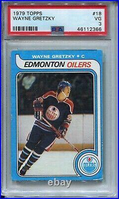 1979'79 Topps Hockey #18 Wayne Gretzky Rookie Card RC Graded PSA 3 Oilers Kings