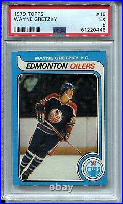 1979'79 Topps Hockey #18 Wayne Gretzky Rookie Card RC Graded PSA EX 5 Oilers