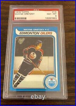 1979 79 Topps Hockey #18 Wayne Gretzky Rookie Card RC Graded PSA NM MT 8 Oilers