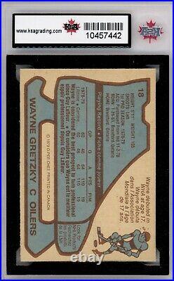 1979 80 OPC #18 WAYNE GRETZKY 1st PRINT! ROOKIE CARD KSA 9 MINT
