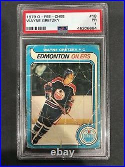 1979-80 O-Pee-Chee Wayne Gretzky Rookie RC #18 PSA 1 Hall of Fame
