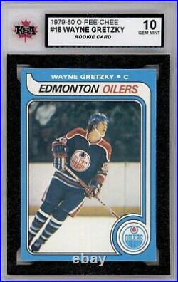 1979 80 Opc #18 Wayne Gretzky Rookie Card Ksa 10 Gem Mint