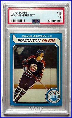 1979-80 Topps Hockey #18 Wayne Gretzky Rookie Card RC GradedPSA 3 Oilers