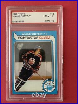 1979 Topps Hockey Wayne Gretzky ROOKIE RC #18 PSA 8 NM-MT Edmonton Oilers