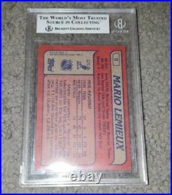 1985-86 Topps Mario Lemieux Rookie Card Bgs Beckett 8 Nm-mt