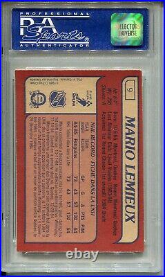 1985 OPC Hockey #9 Mario Lemieux Penguins Rookie Card RC Graded PSA 8 O-Pee-Chee