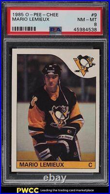 1985 O-Pee-Chee Hockey Mario Lemieux ROOKIE RC #9 PSA 8 NM-MT
