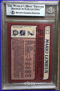 1985 O-Pee-Chee Mario Lemieux # 9 Rookie Card Graded BGS 8.5 NM MINT+ OPC WOW