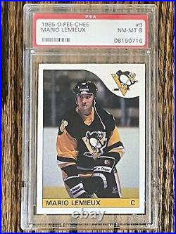 1985 O-Pee-Chee OPC Mario Lemieux #9 Rookie RC PSA 8 (Top Sports Cards)