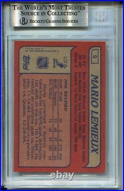 1985 Topps Hockey #9 Mario Lemieux Penguins Rookie Card RC Graded BGS MINT 9