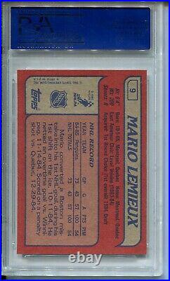 1985 Topps Hockey #9 Mario Lemieux Penguins Rookie Card RC Graded PSA MINT 9