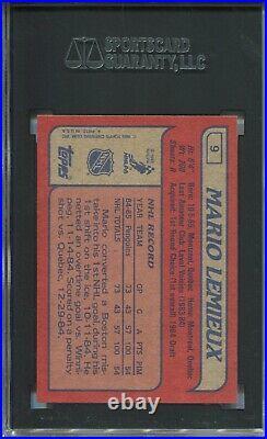 1985 Topps Hockey #9 Mario Lemieux Penguins Rookie Card RC Graded SGC MINT 9