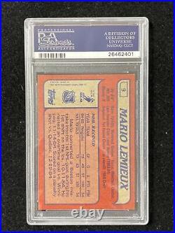 1985 Topps Hockey #9 Mario Lemieux Rookie Card PSA 8 NM-MT