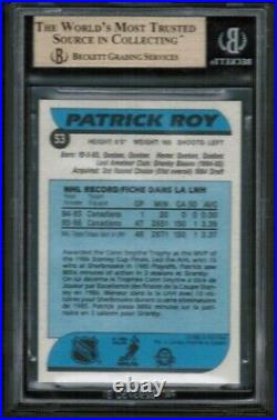 1986 87 OPC O-Pee-Chee #53 Patrick Roy Rookie Rc BGS 9.5 Gem Mint