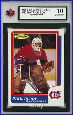 1986 87 Opc O-pee-chee #53 Patrick Roy Rookie Card Ksa 10 Gem Mint