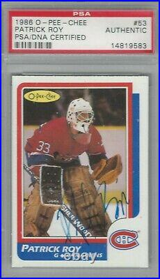 1986 O-Pee-Chee OPC Patrick Roy Autographed Rookie Cards Auto PSA/DNA