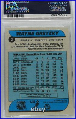 1986 Opc # 3 Wayne Gretzky Hockey Card Psa 8 Nm Mt
