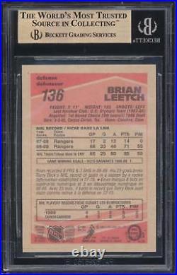 1989 90 OPC O-Pee-Chee Brian Leetch #136 HOF Rookie Card BGS 9.5 GEM MINT