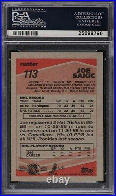1989 Topps Hockey Joe Sakic ROOKIE RC #113 PSA 10 GEM MINT