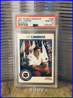1991 Score Canadian Eric Lindros Rookie Card RC Bilingual PSA 10 GEM MINT POP 3