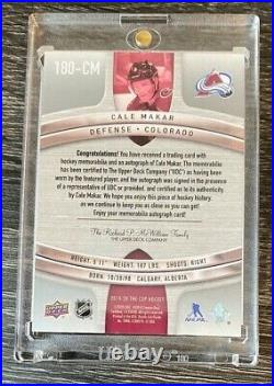 19-20 UD The Cup Cale Makar Retro Rookie 4 CLR Patch Auto 06/10 #180-CM WOW