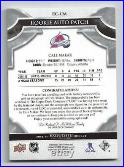 19-20 UD The Cup Exquisite Collection Rookie Patch/Autograph Cale Makar 5/8