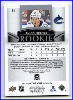 19-20 Upper Deck The Cup Rookie Patch/Autograph Quinn Hughes 19/99 #61