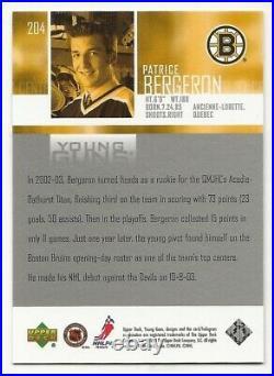 2003-04 Upper Deck Patrice Bergeron Young Guns Rookie Card #204 Boston Bruins