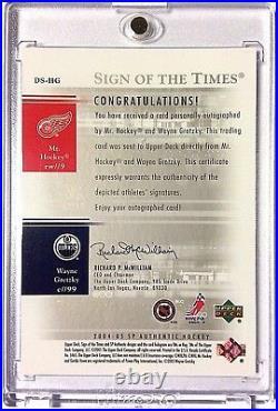 2004-05 SP Authentic WAYNE GRETZKY GORDIE HOWE 06/25 Dual On Card AUTO autograph
