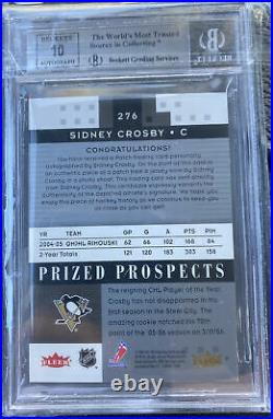 2005-06 Hot Prospects #276 Sidney Crosby Auto Patch (3 Colour) BGS 9