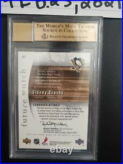 2005-06 Sp Authentic Future Watch Rookie Rc Auto /999 Bgs 10 Sidney Crosby Hof