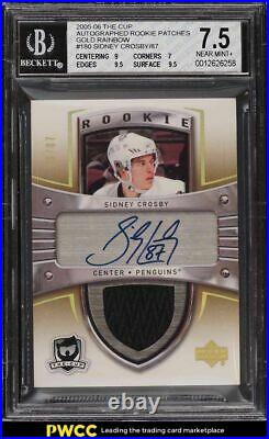 2005-06 UD The Cup Gold Rainbow Sidney Crosby ROOKIE AUTO PATCH /87 #180 BGS 7.5