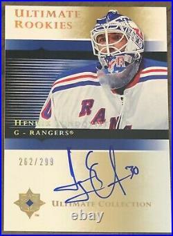 2005-06 Ultimate Collection Henrik Lundqvist Rookies Rc Auto Autograph Card /299