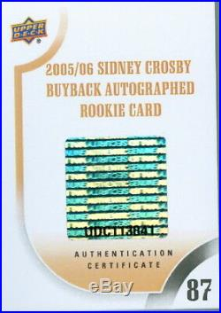 2005-06 Young Guns #201 Sidney Crosby Auto Rookie Rc Buyback 5/10 Bgs 9.5 /10