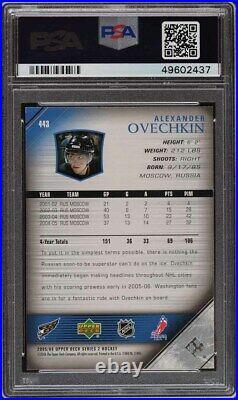 2005 Upper Deck Young Guns Alexander Ovechkin ROOKIE RC #443 PSA 9 MINT
