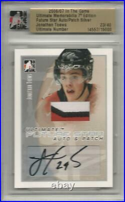 2006-07 ITG Jonathan Toews Future Star Auto & Patch Silver Rookie Card RC 23/40