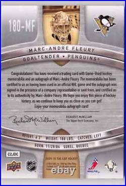 2009-10 Upper Deck The Cup MARC-ANDRE FLEURY Auto Logo Patch Card #d 10 PENGUINS