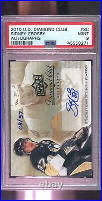 2010 Upper Deck Diamond Club Sidney Crosby AUTO Signed Autograph PSA Graded Card