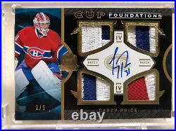 2012/13 Upper Deck The Cup Cup Foundation Carey Price Quad Patch Auto 2/5